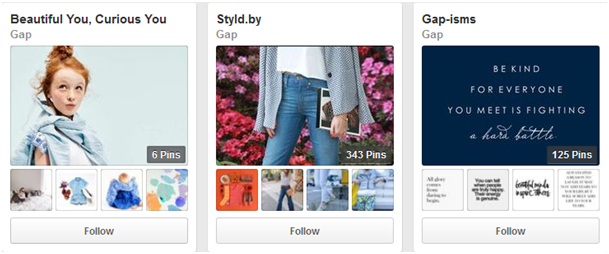 Categorize boards by your products on Pinterest