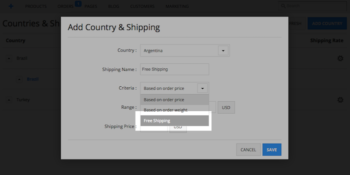 Shopio Free Shipping Feature